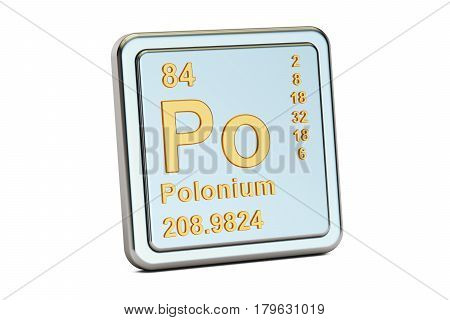 Polonium Po chemical element sign. 3D rendering isolated on white background