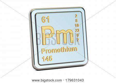 Promethium Pm chemical element sign. 3D rendering isolated on white background