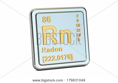 Radon Rn chemical element sign. 3D rendering isolated on white background
