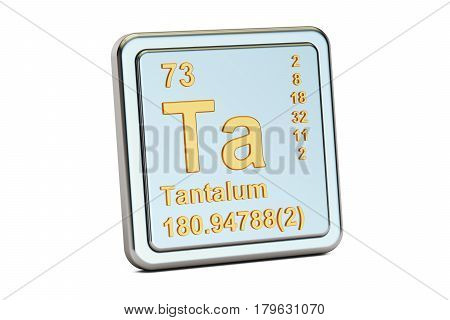 Tantalum Ta chemical element sign. 3D rendering isolated on white background