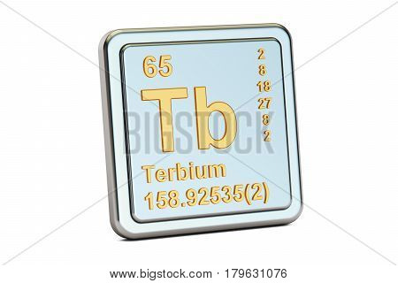Terbium Tb chemical element sign. 3D rendering isolated on white background