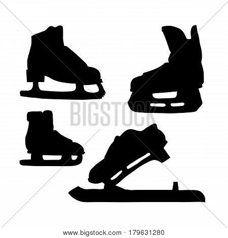 Skates for ice silhouette. Various sports vector line illustration on white background Doodle sketch.