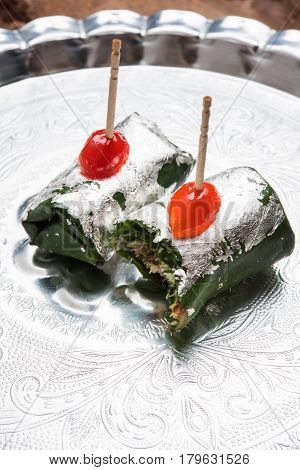 ready to eat Indian Sweet Masala Meetha Paan or Kolkata Meetha pan after lunch or dinner party