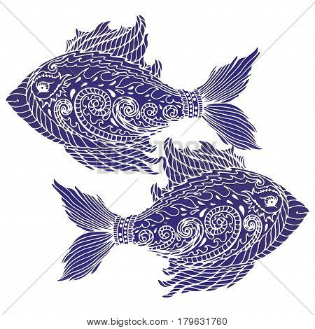 Zen tangle stylized abstract fish isolated on white background. T-shirt emblem logo tattoo with doodle zen tangle floral elements.