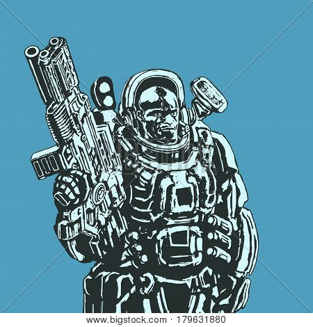 Heavy space marine in a colorful suit with a large plasma rifle. Science fiction original character the soldier of the future. Vector illustration. Blue background.