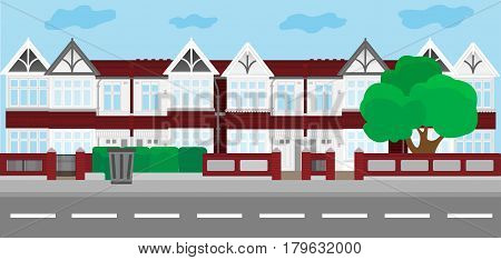 Vector city illustration in flat simple style houses on horizontal banner - website headers. Vector illustration.