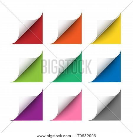 Vector realistic white paper corners set with soft shadow on white background. 3D page corners curled. Paper corners rolled with red, orange, yellow, green, blue, purple and gray background.