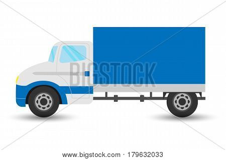 Vector flat design transportation icon featuring small size moving truck Logistics and delivery vehicle trendy style icon