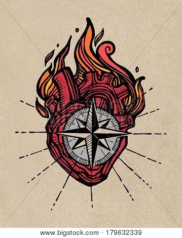 Human Heart With Compass And Fire