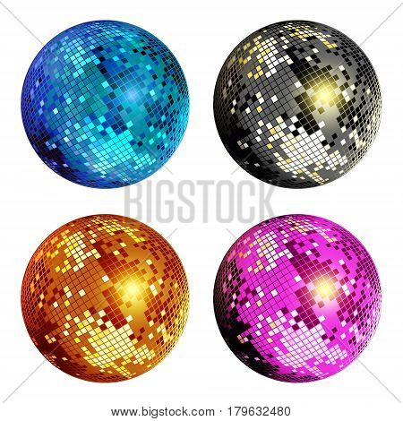 Set of colored disco ball isolated on white background. Colorful disco mirror ball isolated. Design element for party flyer poster or brochures. Vector illustration.