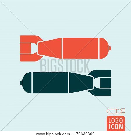 Bomb icon. Two aerial bomb symbol. Vector illustration