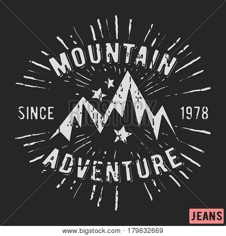 T-shirt print design. Mountain adventure vintage stamp. Printing and badge applique label t-shirts jeans casual wear. Vector illustration.