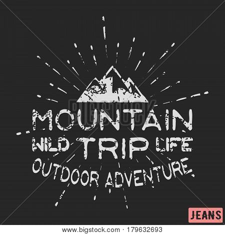 T-shirt print design. Mountain outdoor adventure vintage stamp. Printing and badge applique label t-shirts jeans casual wear. Vector illustration.