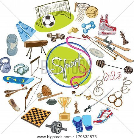Colorful drawing sports concept with equipment tools and elements of different disciplines in circle isolated vector illustration