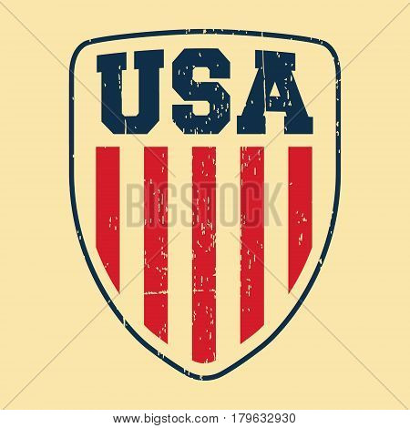 T-shirt print design. USA shield vintage stamp. Printing and badge applique label t-shirts jeans casual wear. Vector illustration.
