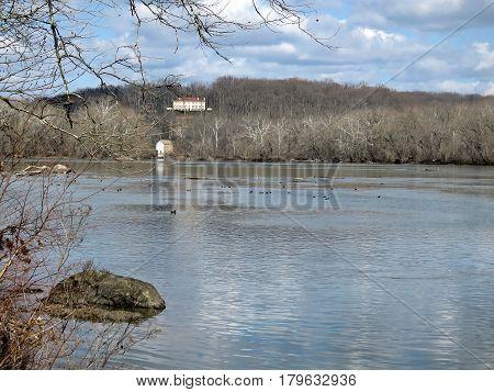 Landscape of Potomac River on a cloudy day near Washington USA March 19 2017
