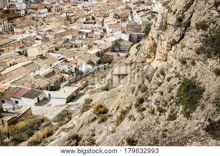 a view over Sax town, province of Alicante, Spain