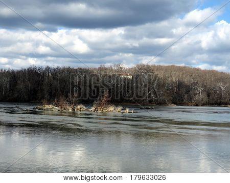 The landscape of Potomac River near Washington USA March 19 2017