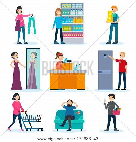People in shop set with merchandiser loader cashier consultant and customers in different situations isolated vector illustration