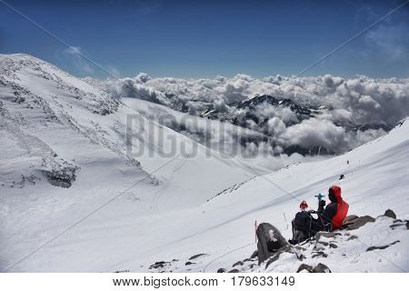 Climbers on the Western top of Elbrus near the top