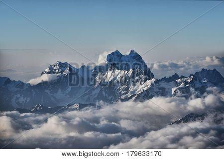 Beautiful vew of Mount Ushba from Elbrus.