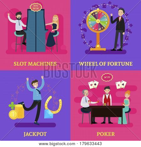 People in casino square concept with visitors croupier games and gambling elements in flat style vector illustration