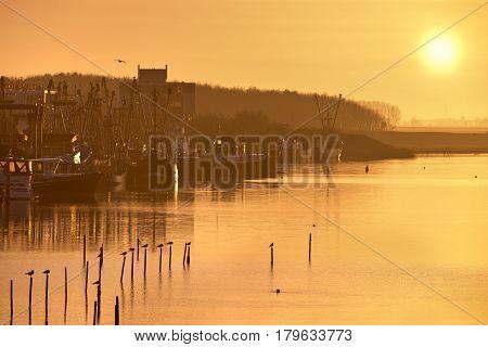 Fishing Harbor During Sunrise
