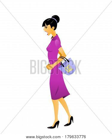 Vector illustration of character flat angry screaming fashion girl with purse, elegant dress, on high heels shoes going somewhere. Side view