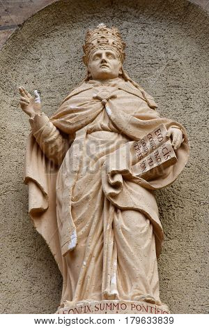 Eguisheim France - july 23 2016 : pope Leon the nineth in the saint Pierre saint Paul church