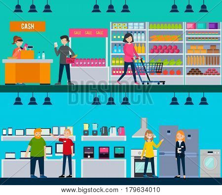 People in shop horizontal banners with customers and workers in grocery and hardware stores vector illustration