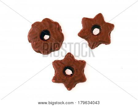 Chocolate Stars And Flowers Isolated On White Background Sweet Dessert Composition