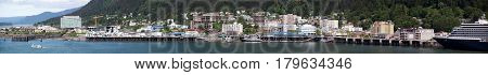The panoramic view of Juneau downtown the capital of Alaska.