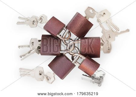 Small linked padlocks with keys. On white clipping path included. Security links tickler overuse and overcompliance theme