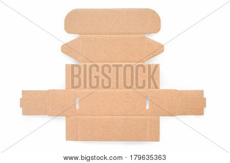 Blank cardboard box cutting. Texture and template. Isolated on white clipping path included