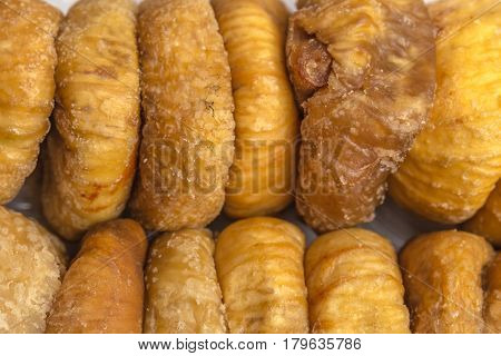 Dried figs, close-up macro photo, figs background, top view