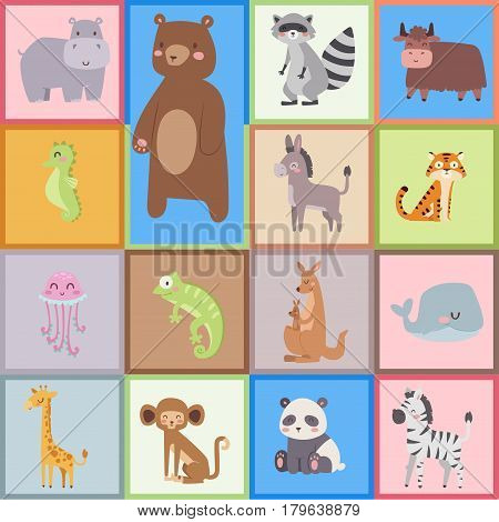 Cute zoo cartoon animals isolated funny wildlife learn cute language and tropical nature safari mammal jungle tall characters vector illustration. Nature wild study africa savanna.