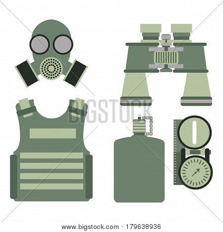 Military body armor symbols armor set forces design and american fighter ammunition navy camouflage sign vector illustration. Uniform battle sniper automatic special tools.