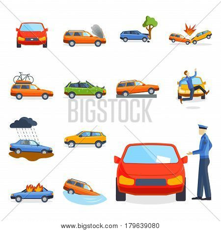 Car crash collision traffic insurance safety automobile emergency disaster and emergency disaster speed repair transport vector illustration. Auto accident involving broken transportation.