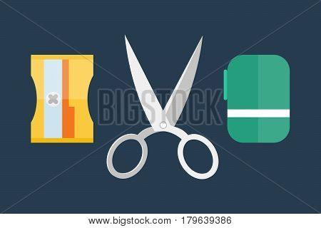 Stationery equipment handle shape line work art scissors separation salon open barber equipment and design symbol tailor shear vector illustration. Creative instrument craft business supplies.