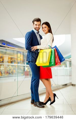 Concept Of Consumerism, Sale, Rich Life And People Relationship. Full-length Photo Of Stylish Succes