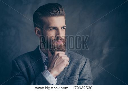 Portrait Of Handsome Stylish Young Man With Mustache, Beard And Beautiful Hairstyle Keep Calm And Th