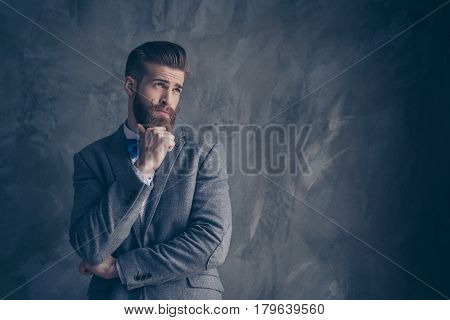 Portrait Of Stylish Hipster Funny Young Man With Red Mustache, Beard And Beautiful Hairstyle Ponderi