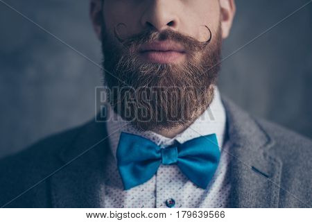 Close Up Cropped Photo Portrait Of Stylish Hipster Brutal Young Man With Red Mustache, Heavy Thick B