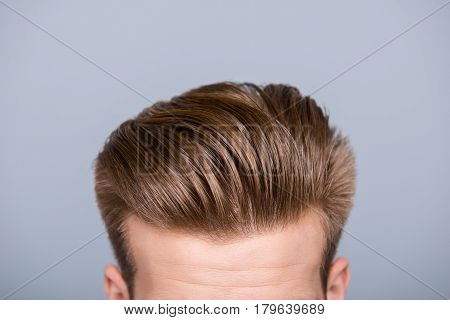 Cropped Photo Portrait Of Man's Head With Health Hair And Stylish Haircut