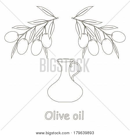 Sketch Olive Oil label, olive branch with leafs and fruits on white, bottle stock vector illustration