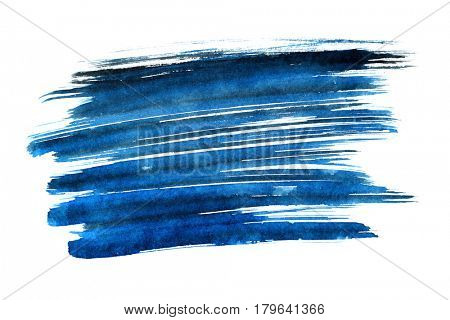 Blue expressive brush strokes isolated on the white background. Element for your design