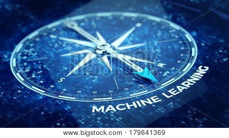 Machine learning concept - Compass needle pointing Machine learning word. 3d rendering