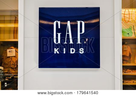 April 3 2017-Gap Kids Logo Store located inside metropolis at metrotown center mall Burnaby,BC Canada