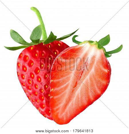 Isolated fruits. Strawberry and half on white background isolated on white background as package design element.