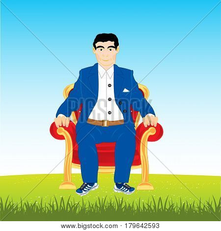 Man in suit sits in easy chair on year meadow
